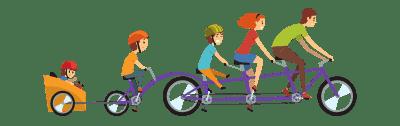 Familie mit Lastenrad für Kinder
