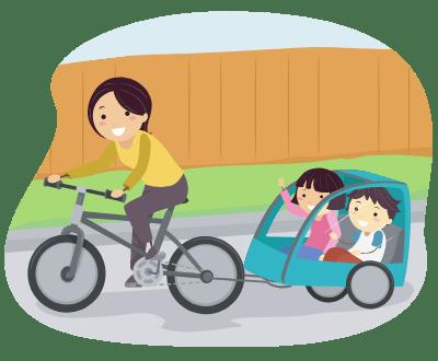 Lastenanhänger mit Kindern