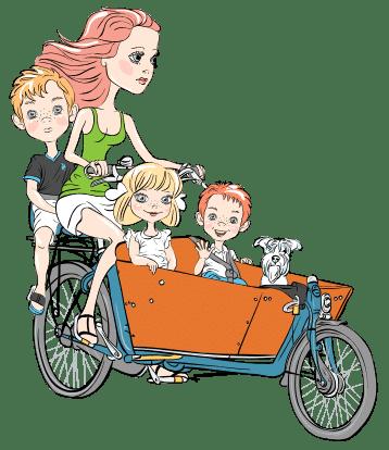 Mutter mit Kindern im Lastenfahrrad